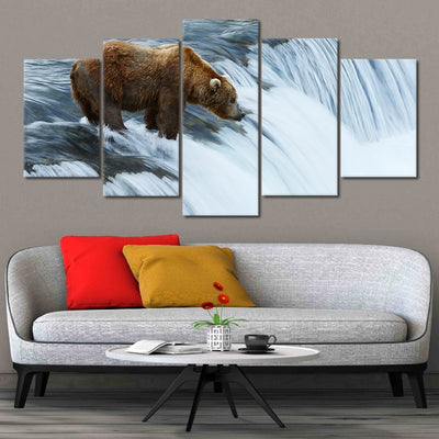 Grizzly bear fish at Brooks Falls in Katmai National Park canvas prints cheap