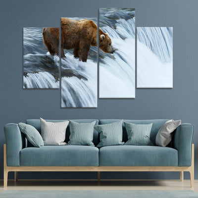 Grizzly bear fish at Brooks Falls in Katmai National Park best canvas prints
