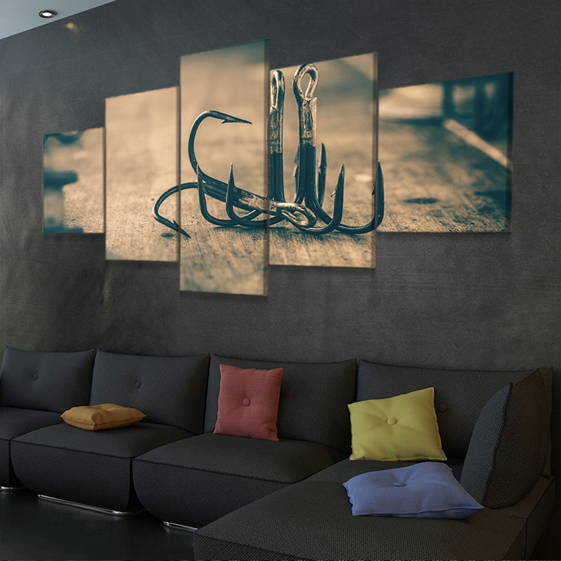 rusted Fishing Hooks canvas wall art