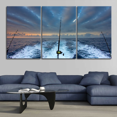 Fishing Rod At Sea wall canvas