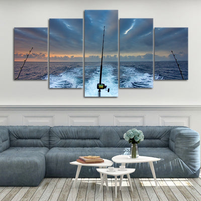 Fishing Rod At Sea multi panel canvas wall art
