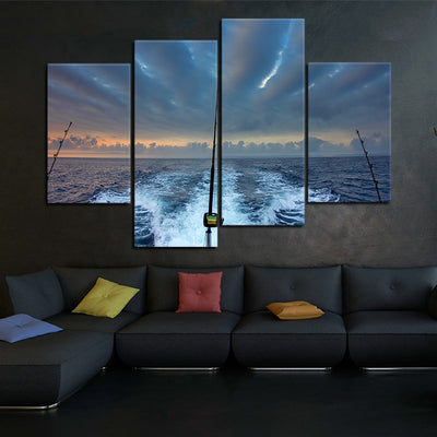 Fishing Rod At Sea canvas wall art