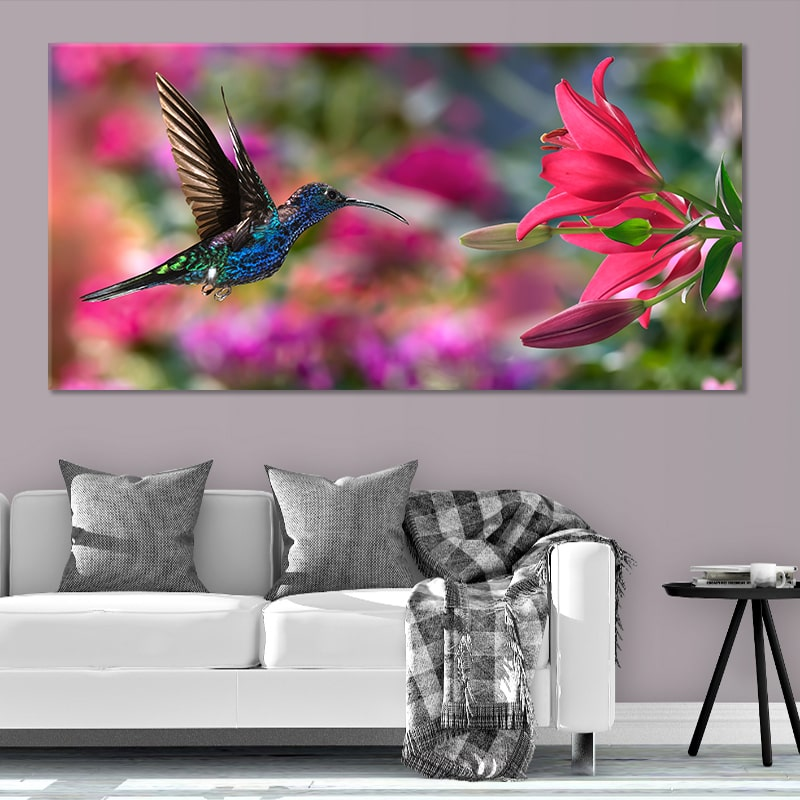 hummingbird on a flower 5 piece canvas art