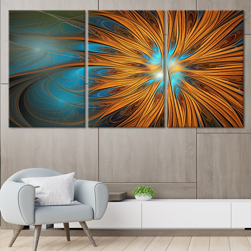 Fractal Sun Flower Canvas Wall Art