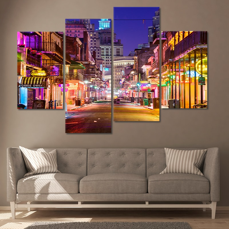 New Orleans Skyline Canvas Wall Art Set