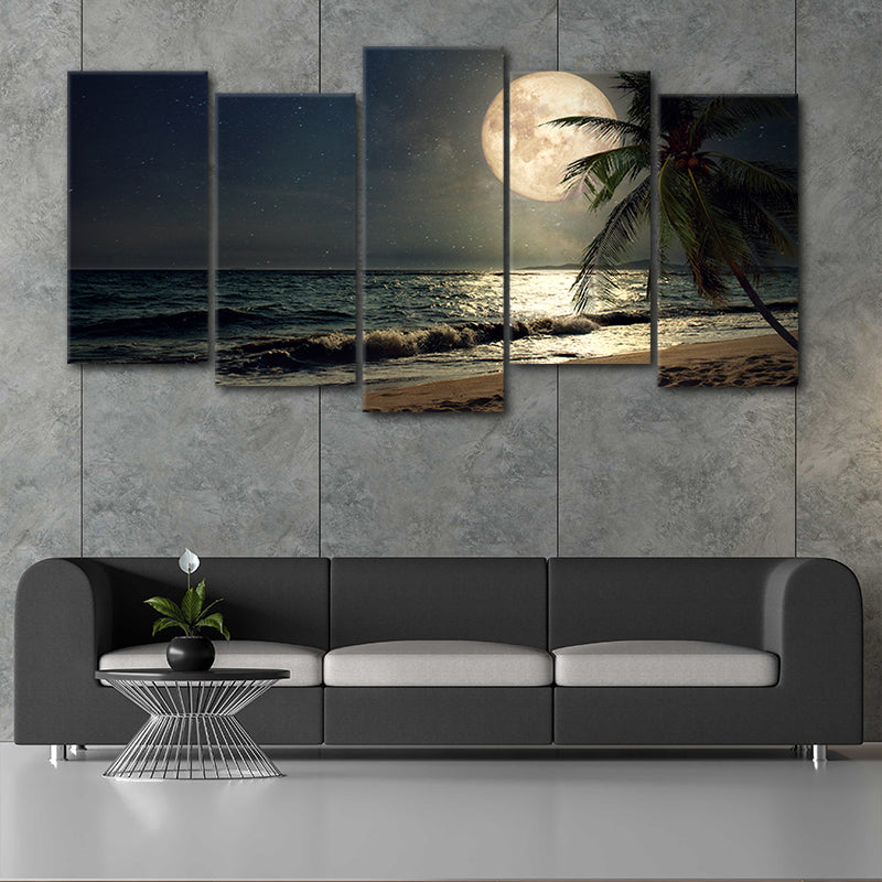 Full Moon Rising 5 piece wall art