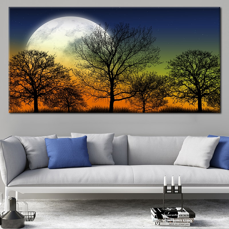 Full Moon Forest Silhouette Canvas Wall Art