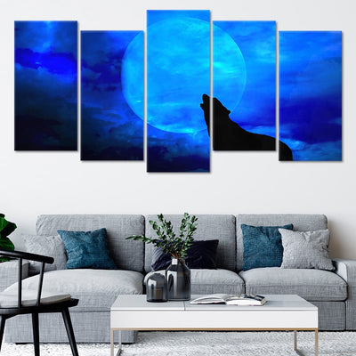 Wolf Howling At Moon Multi Panel Canvas Wall Art