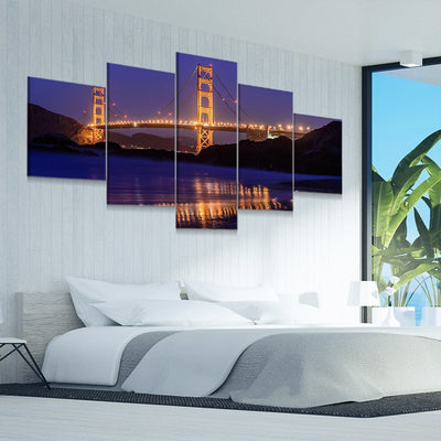 San Francisco Golden Gate Bridge 5 piece canvas art