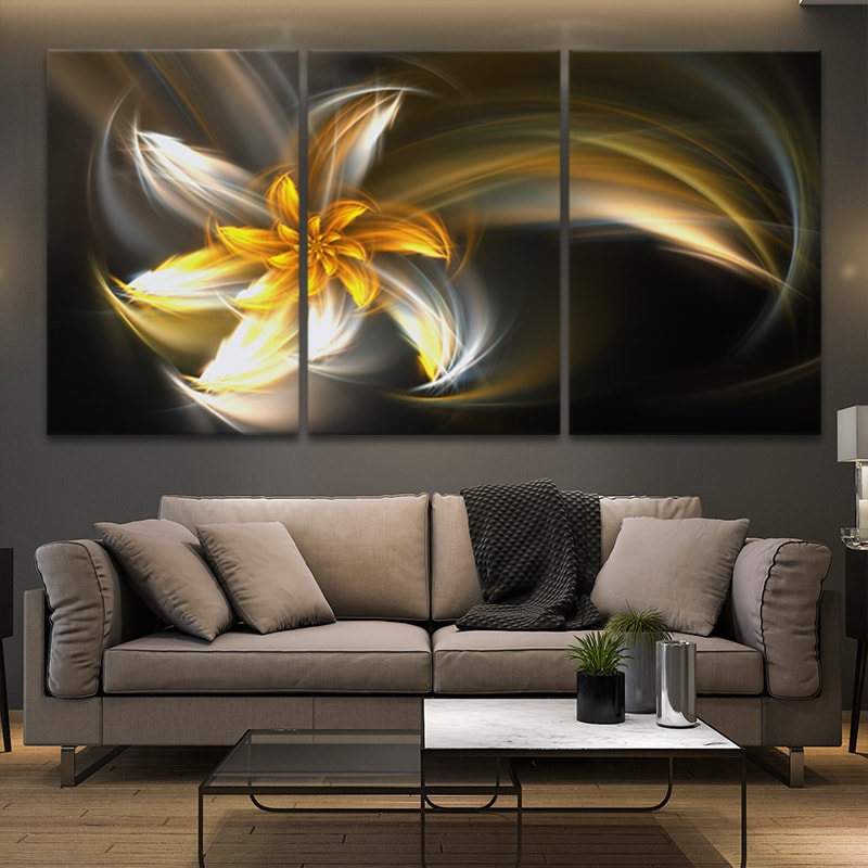 Golden Fractal Flower wall canvas
