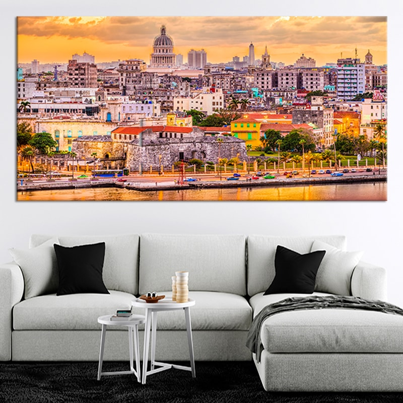 La Habana Cuba Skyline 5 piece canvas art