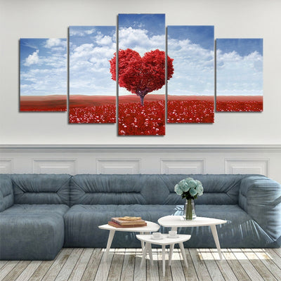 maple tree with red leaves 5 piece canvas art
