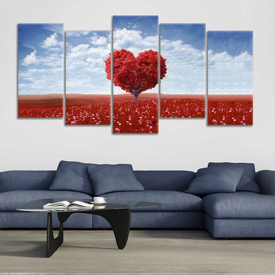maple tree with red leaves 5 piece wall art