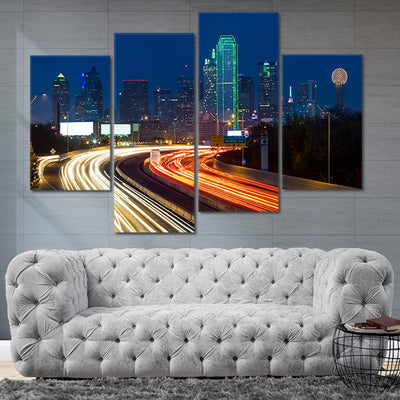 Highway To Dallas Multi Panel Canvas Wall Art