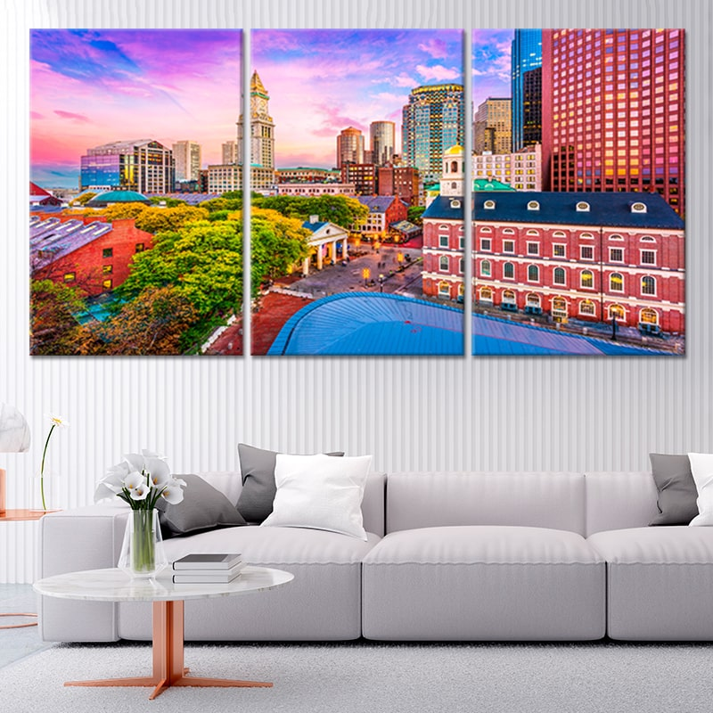 Historic Boston Skyline Multi Panel Canvas Wall Art