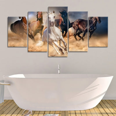 Horses Galloping Multi Panel Canvas Wall Art