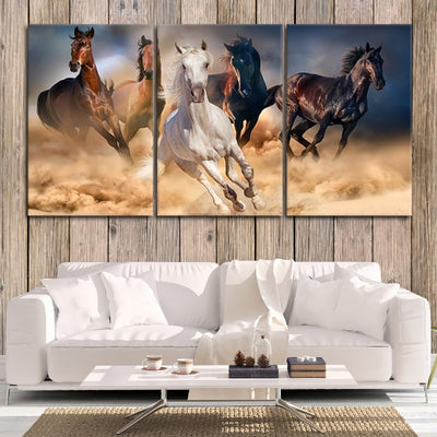 Horses Galloping Multi Panel Canvas Wall Art Painting