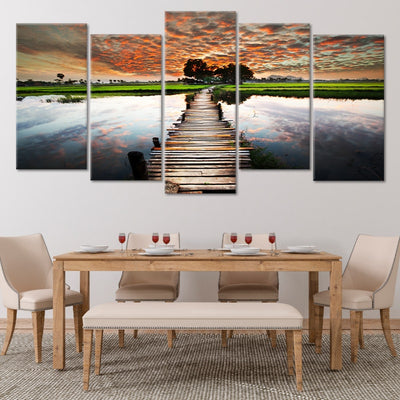 Old Dock At Sunset Multi Panel Canvas Wall Art