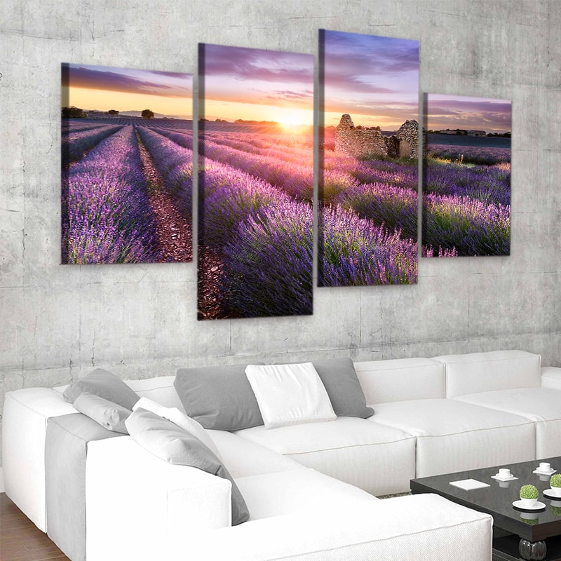 Lavender Field Sunset large canvas art for living room
