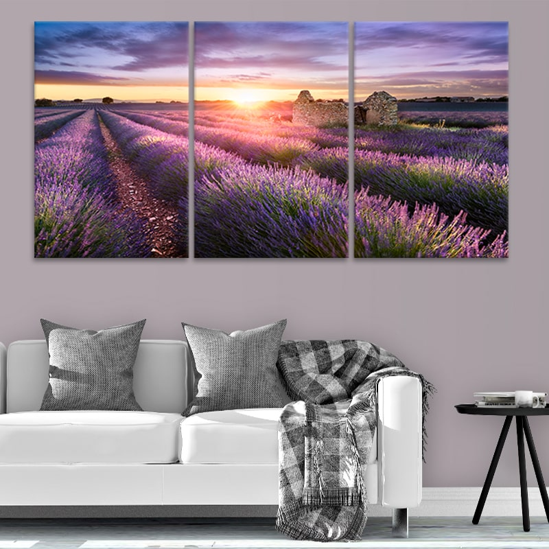 SUNSET ON LAVENDER FARM CANVAS PRINT PICTURE WALL ART VARIETY OF SIZES SET OF 4
