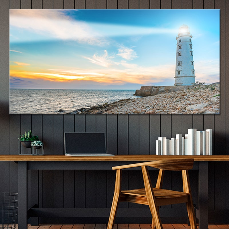 Lighthouse At Sunset Multi Panel Canvas Wall Art