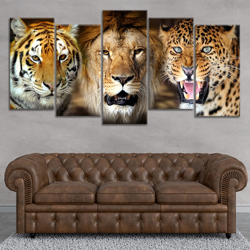 Lion Tiger Leopard Multi Panel Canvas Wall Art