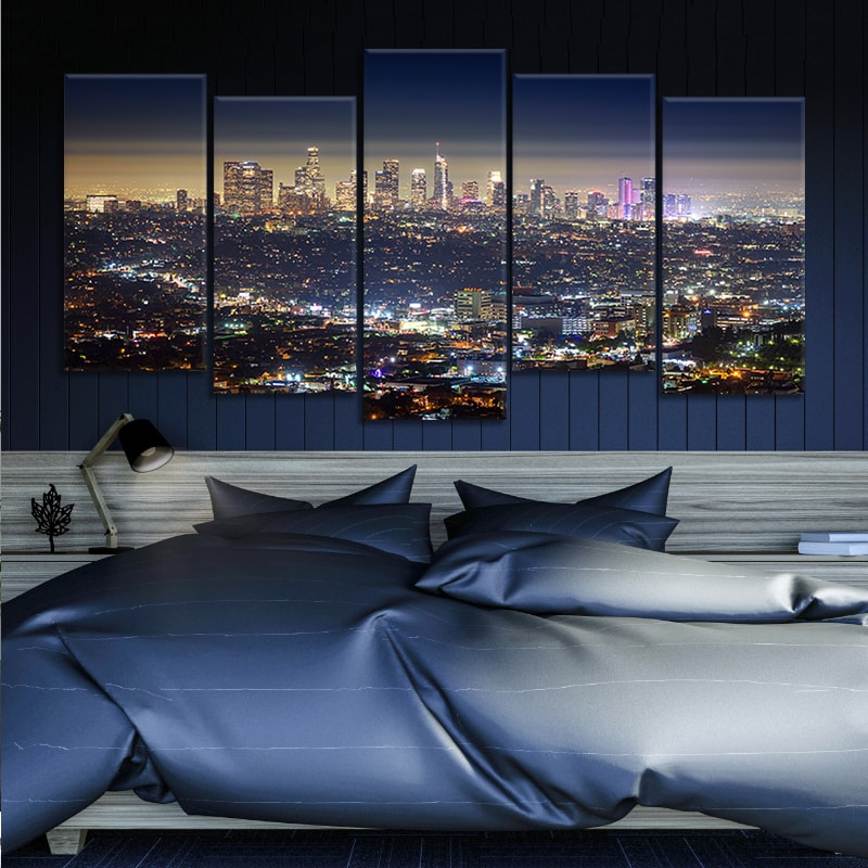 Los Angeles Skyline City at Night canvas set
