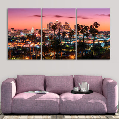 downtown los Angeles skyline 3 piece wall art