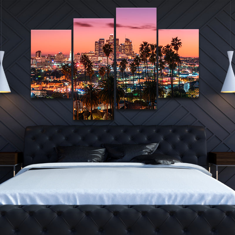 downtown los Angeles skyline wall art set of 4