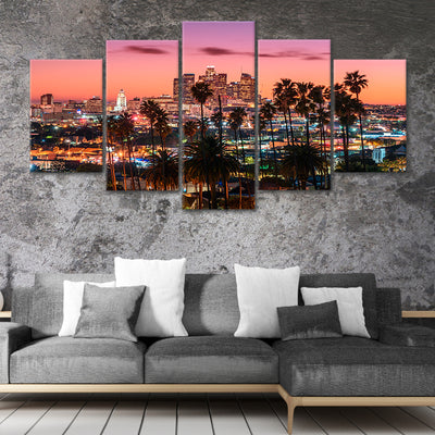 los angeles skyline 5 piece canvas art