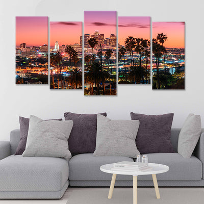Los Angeles Skyline 5 piece wall art