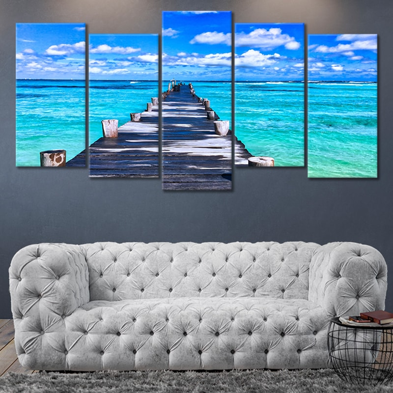 Magnificent Blue Beach Pier Canvas Wall Art