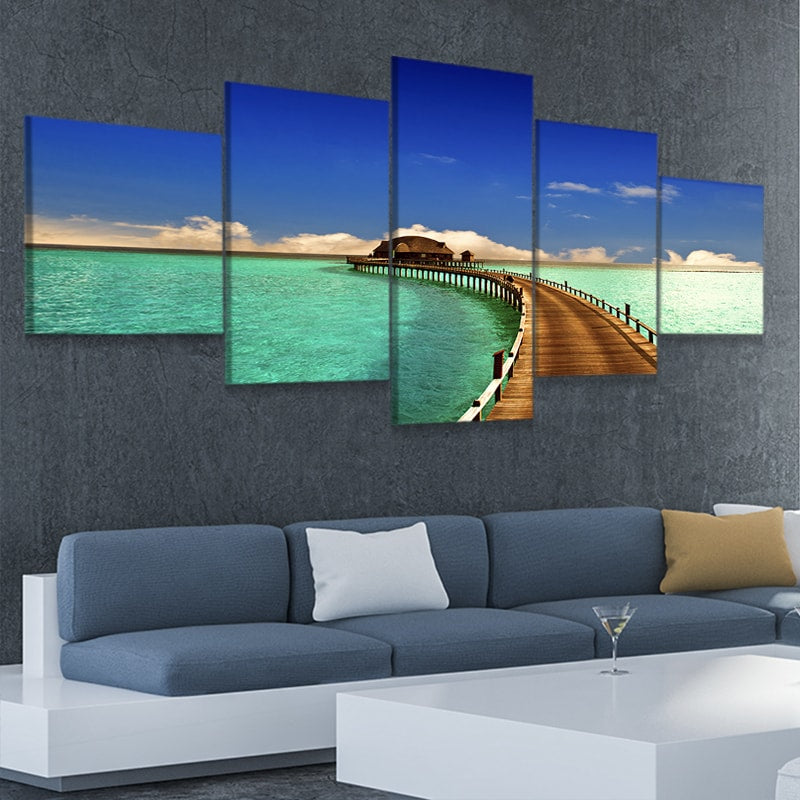 Maldives Bungalow Boardwalk Canvas Wall Art