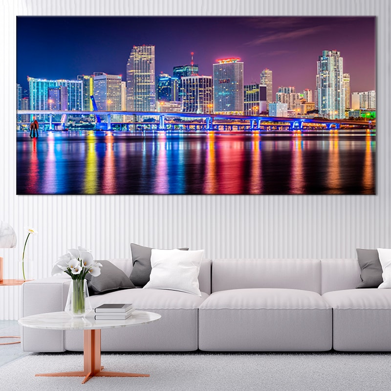 Miami Skyline At Night Multi Panel Canvas Wall Art