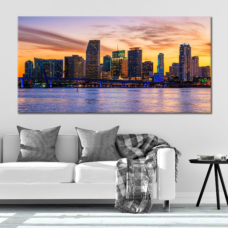 Miami Skyline 5 piece wall art