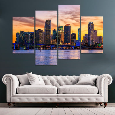Miami Skyline wall art set of 4