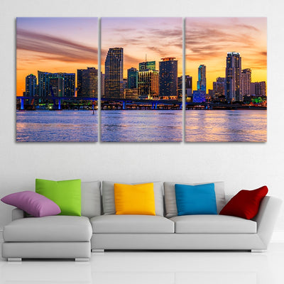 Miami Skyline  3 piece wall art
