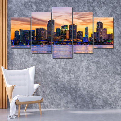 Miami Skyline 5 piece canvas art