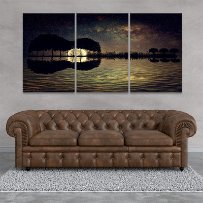 guitar island sunset 3 piece wall art