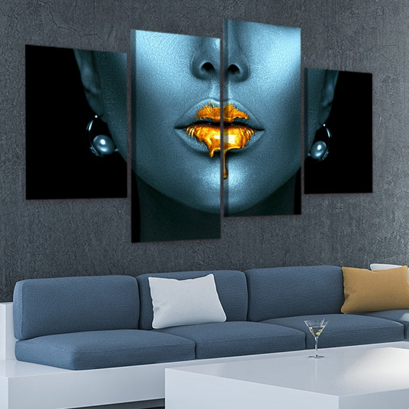 Mystery Woman with Golden Lips Canvas Wall Art