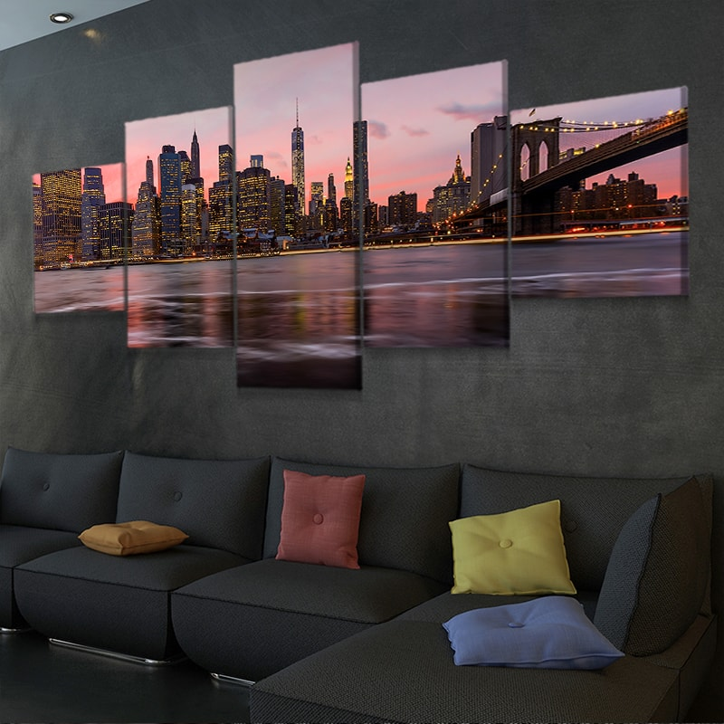 New York Skyline At Night 5 piece wall art