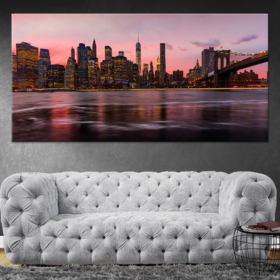 New York Skyline At Night canvas wall art large