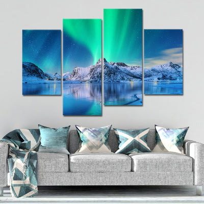 Northern Lights Lake wall canvas