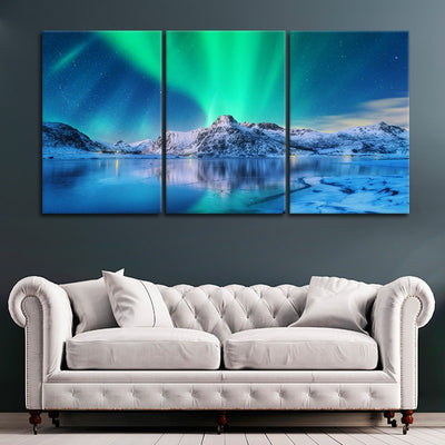 Northern Lights Lake large wall art