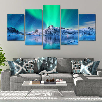 Northern Lights Lake split canvas prints