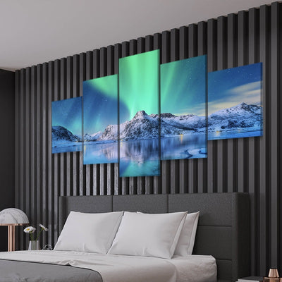 Northern Lights Lake canvas wall art