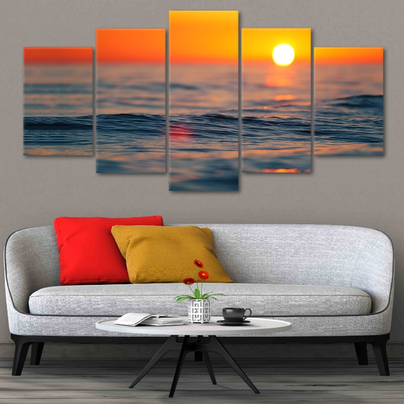 Ocean Sunset Refection Multi Panel Canvas Wall Art