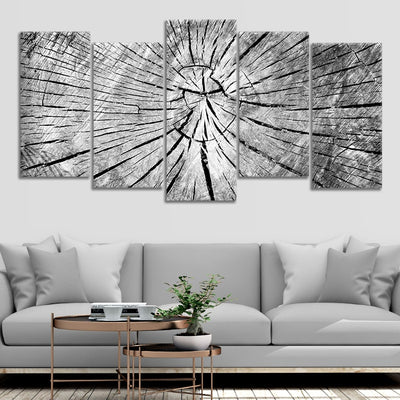 Old Grey cracked Wood canvas wall art