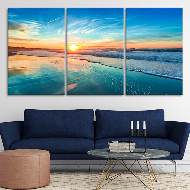 Peaceful Sunset Beach Canvas Wall Art