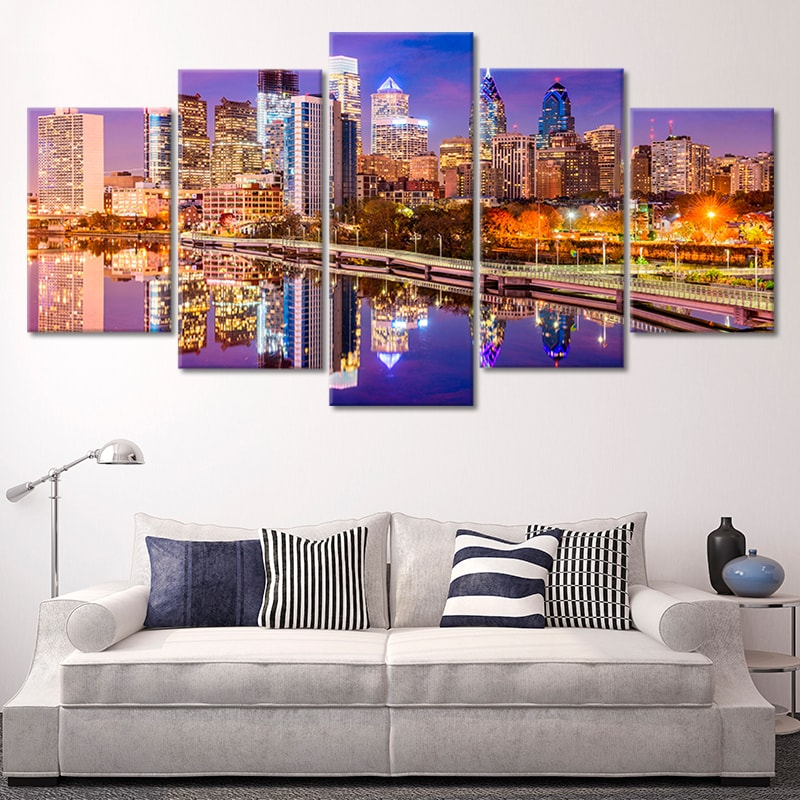 Philadelphia Skyline At Night Multi Panel Canvas Wall Art